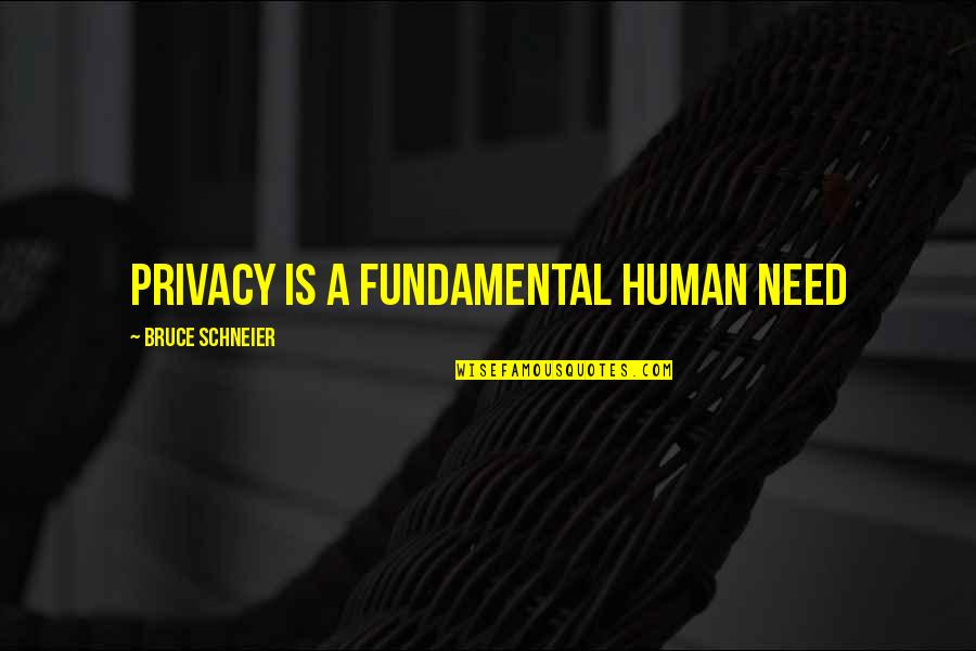 Fundamental Human Needs Quotes By Bruce Schneier: Privacy is a fundamental human need