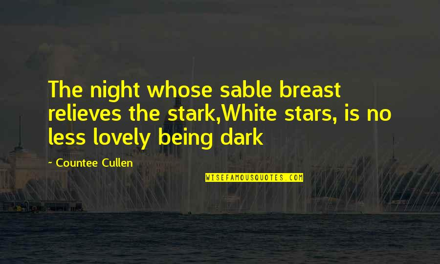 Funniest Vine Quotes By Countee Cullen: The night whose sable breast relieves the stark,White