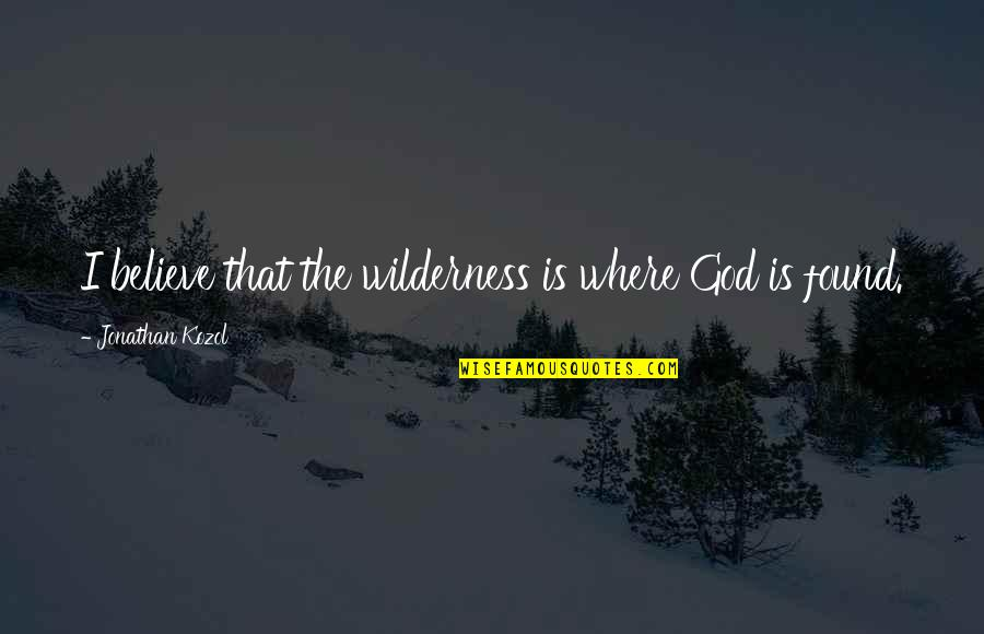 Funny A Level Quotes By Jonathan Kozol: I believe that the wilderness is where God