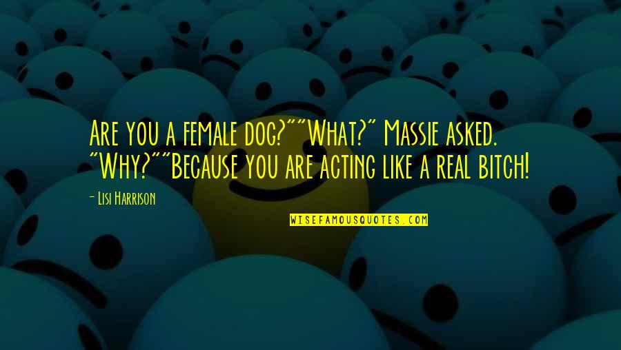 """Funny Acting Quotes By Lisi Harrison: Are you a female dog?""""""""What?"""" Massie asked. """"Why?""""""""Because"""