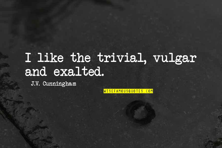 Funny Anti Male Quotes By J.V. Cunningham: I like the trivial, vulgar and exalted.