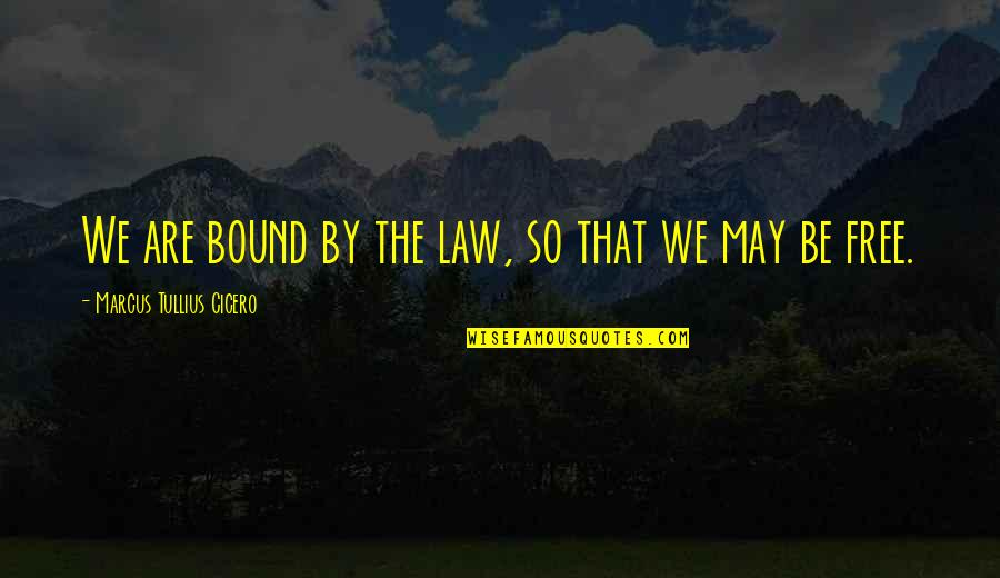 Funny Boy Sayings And Quotes By Marcus Tullius Cicero: We are bound by the law, so that