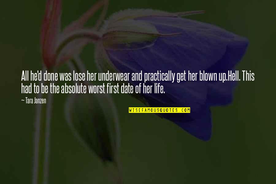 Funny But Romantic Quotes By Tara Janzen: All he'd done was lose her underwear and