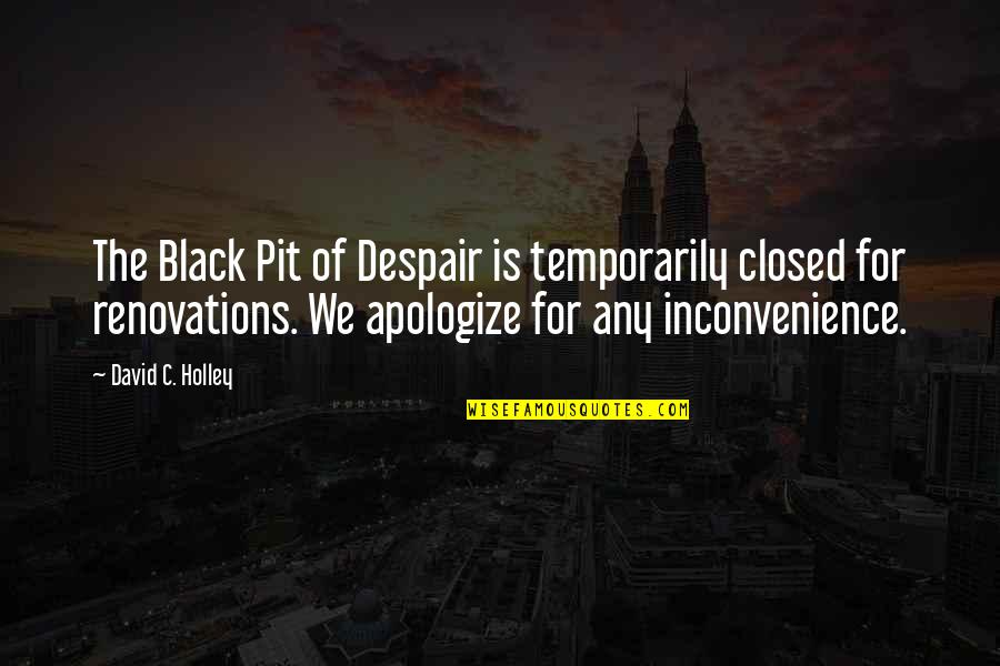 Funny But Sarcastic Quotes By David C. Holley: The Black Pit of Despair is temporarily closed