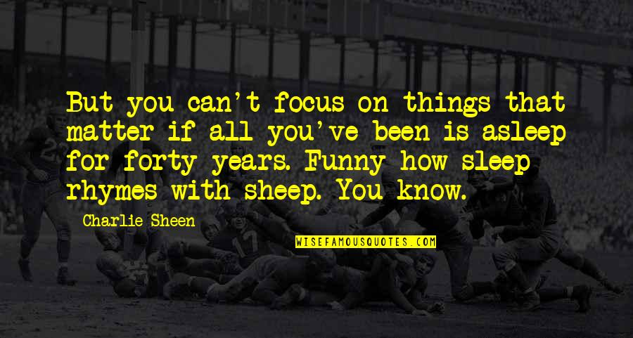 Funny Charlie Sheen Quotes By Charlie Sheen: But you can't focus on things that matter
