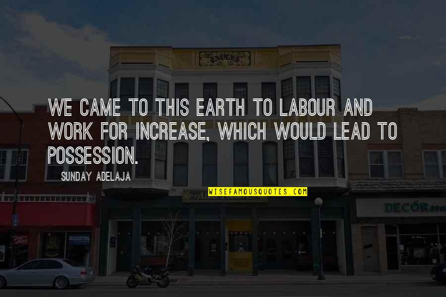 Funny Coconuts Quotes By Sunday Adelaja: We came to this earth to labour and