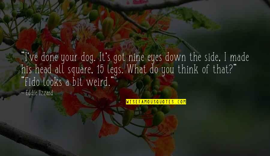 """Funny Down And Out Quotes By Eddie Izzard: """"I've done your dog. It's got nine eyes"""