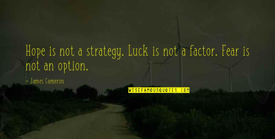 Funny Eric Northman Quotes By James Cameron: Hope is not a strategy. Luck is not