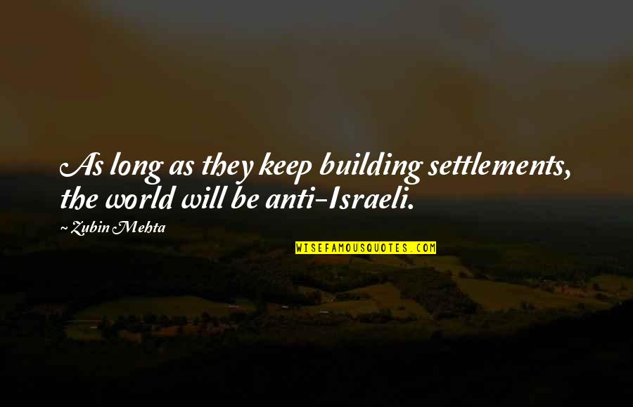 Funny Fried Egg Quotes By Zubin Mehta: As long as they keep building settlements, the