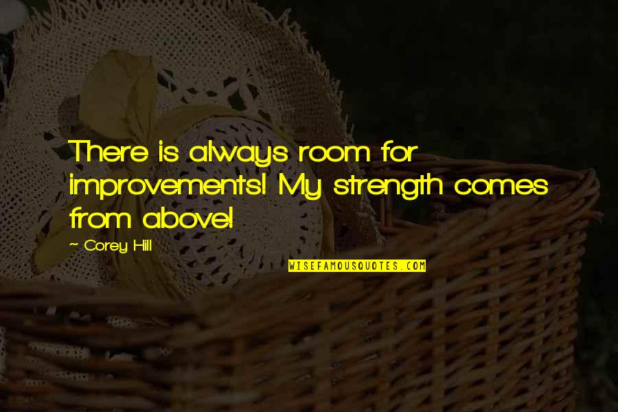 Funny Goalkeeper Quotes By Corey Hill: There is always room for improvements! My strength