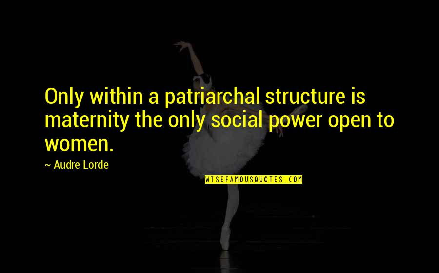 Funny Halo Quotes By Audre Lorde: Only within a patriarchal structure is maternity the