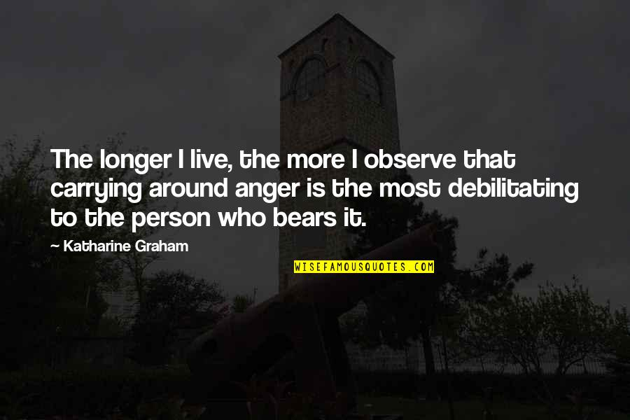 Funny Kicker Quotes By Katharine Graham: The longer I live, the more I observe