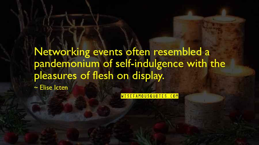 Funny Lazy Employee Quotes By Elise Icten: Networking events often resembled a pandemonium of self-indulgence