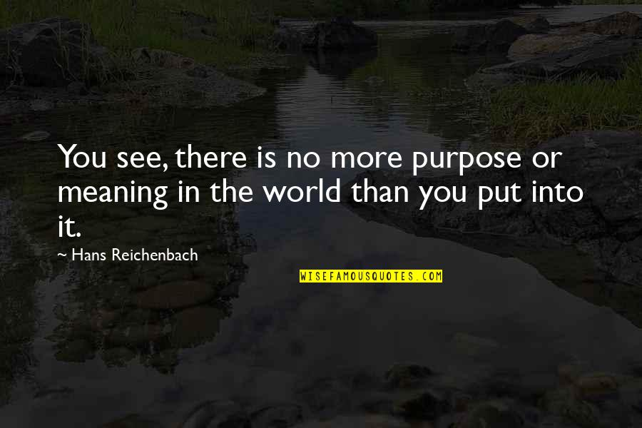 Funny Legal Drinking Age Quotes By Hans Reichenbach: You see, there is no more purpose or