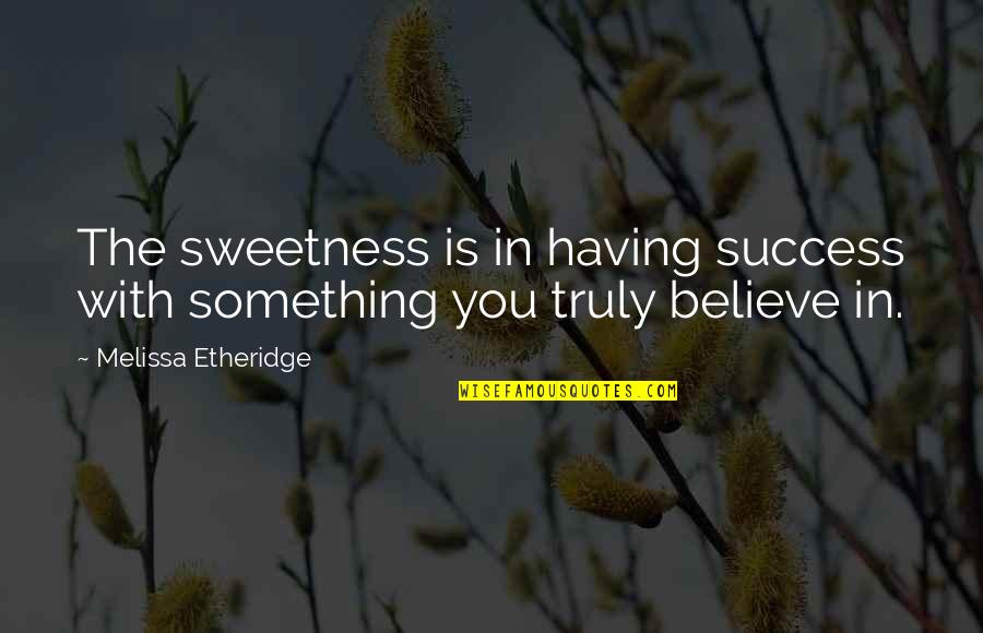Funny Norman Thomas Quotes By Melissa Etheridge: The sweetness is in having success with something