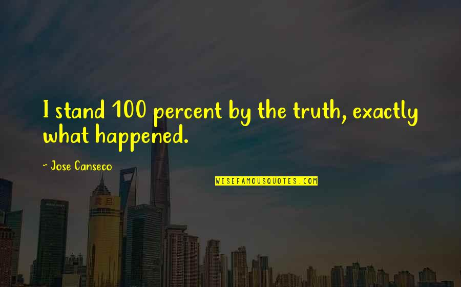 Funny Over 50 Quotes By Jose Canseco: I stand 100 percent by the truth, exactly