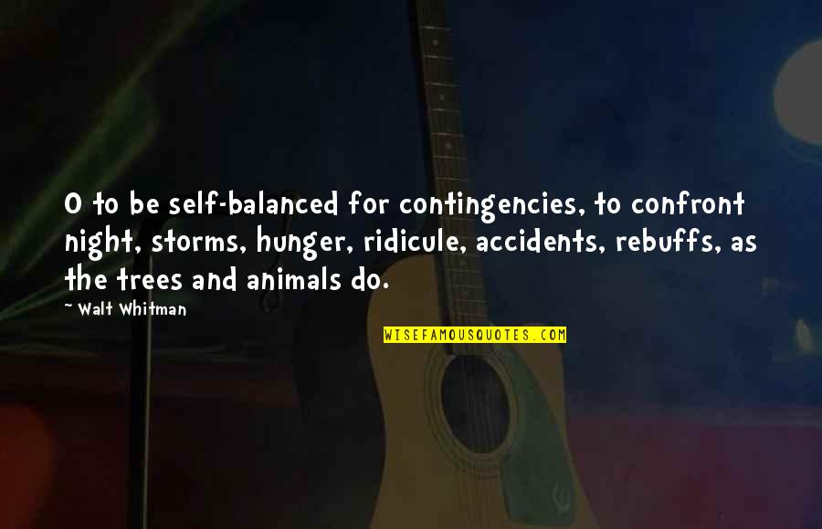 Funny Over 50 Quotes By Walt Whitman: O to be self-balanced for contingencies, to confront