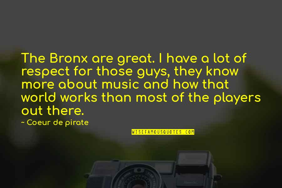 Funny Pigeon Quotes By Coeur De Pirate: The Bronx are great. I have a lot