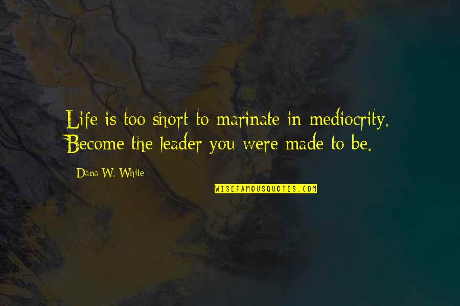 Funny Prostitution Quotes By Dana W. White: Life is too short to marinate in mediocrity.