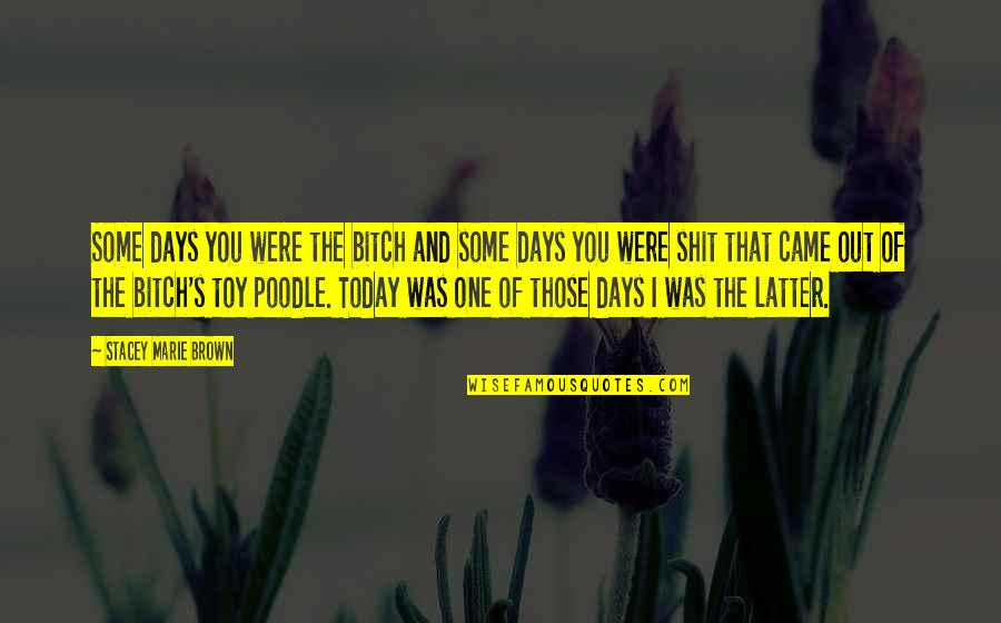 Funny Random Quotes By Stacey Marie Brown: Some days you were the bitch and some