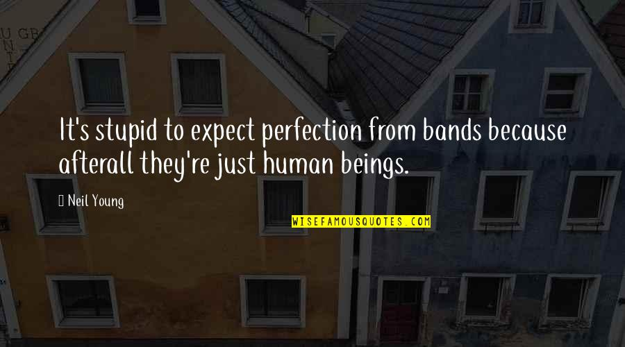 Funny River Quotes By Neil Young: It's stupid to expect perfection from bands because