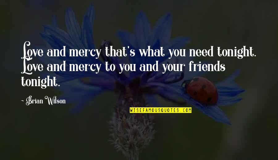 Funny Seattle Seahawks Quotes By Brian Wilson: Love and mercy that's what you need tonight.