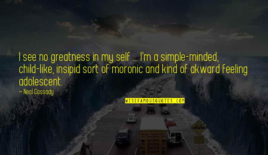 Funny Storm Quotes By Neal Cassady: I see no greatness in my self ...