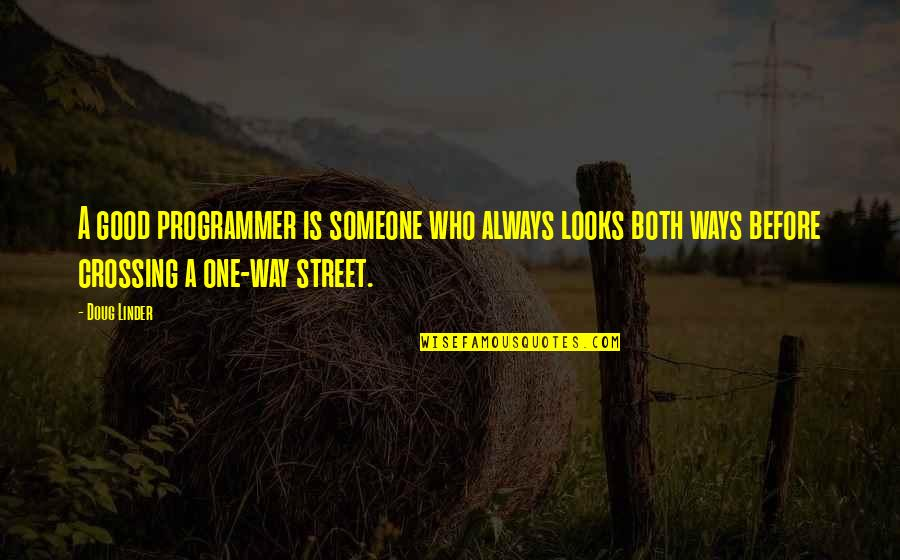 Funny Street Quotes By Doug Linder: A good programmer is someone who always looks