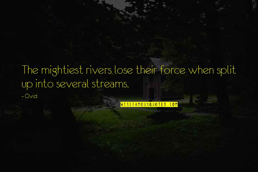 Funny Typography Quotes By Ovid: The mightiest rivers lose their force when split