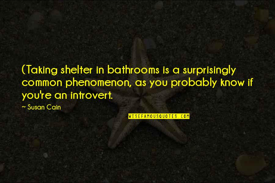 Funny Typography Quotes By Susan Cain: (Taking shelter in bathrooms is a surprisingly common