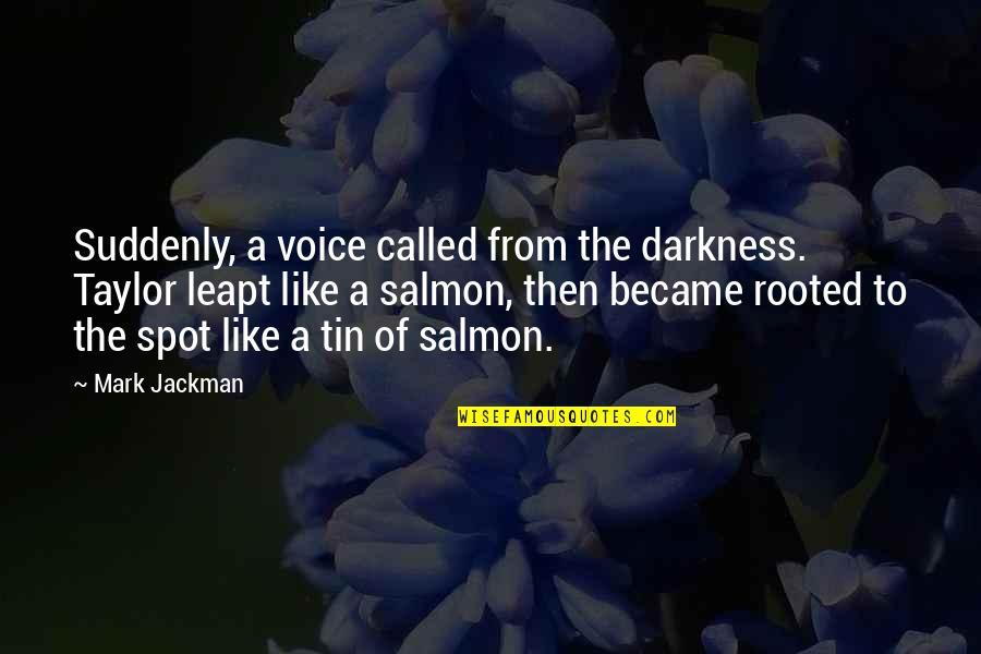 Funny Voice Quotes By Mark Jackman: Suddenly, a voice called from the darkness. Taylor