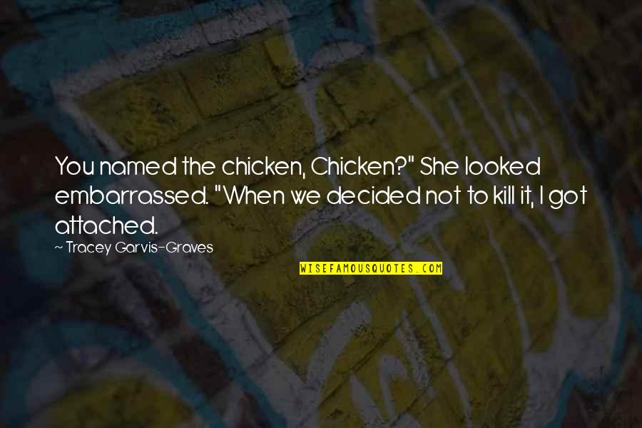 "Funny When Quotes By Tracey Garvis-Graves: You named the chicken, Chicken?"" She looked embarrassed."