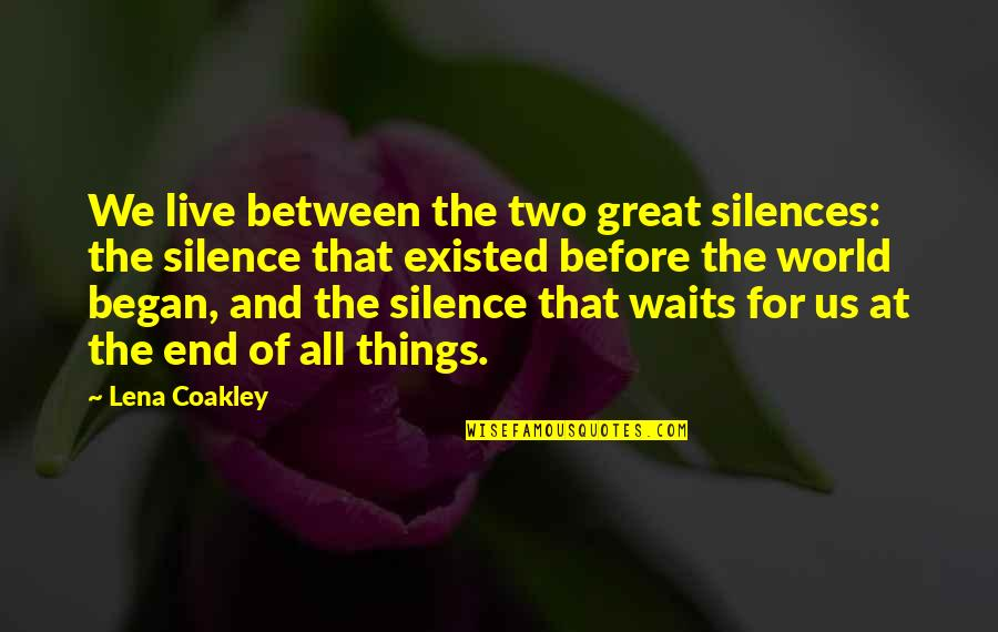 Funny Whipped Quotes By Lena Coakley: We live between the two great silences: the