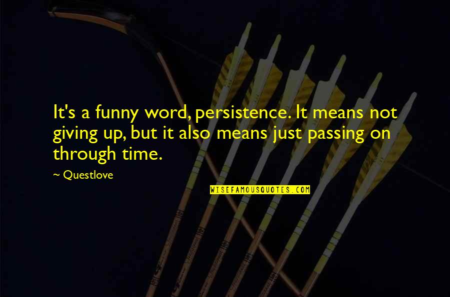 Funny Word Quotes By Questlove: It's a funny word, persistence. It means not