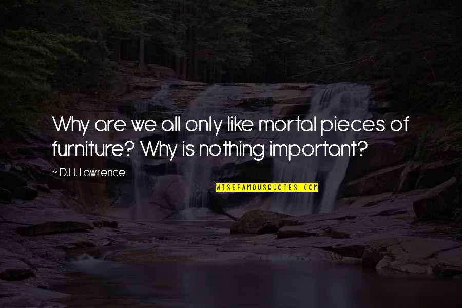 Furniture Quotes By D.H. Lawrence: Why are we all only like mortal pieces