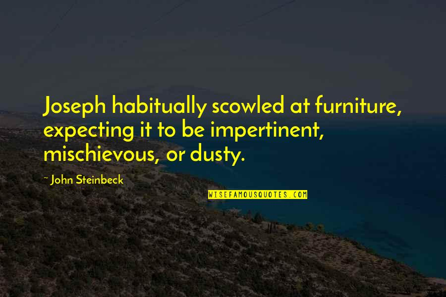 Furniture Quotes By John Steinbeck: Joseph habitually scowled at furniture, expecting it to
