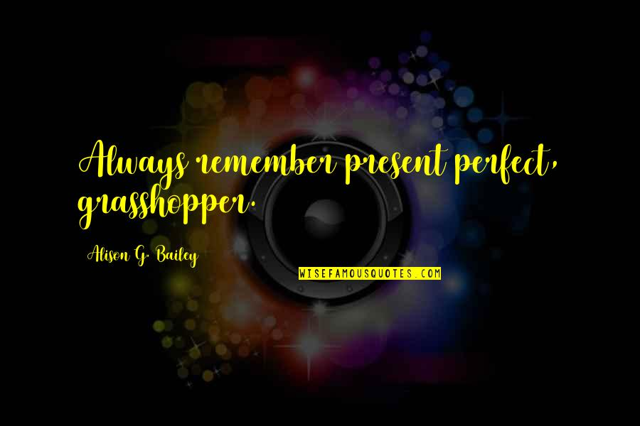 Fury Quotes And Quotes By Alison G. Bailey: Always remember present perfect, grasshopper.