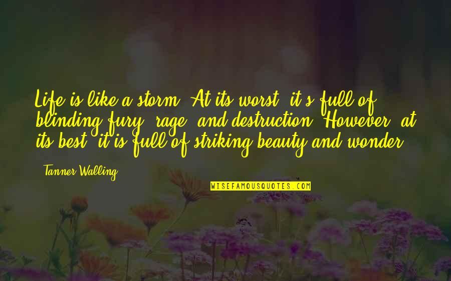 Fury Quotes And Quotes By Tanner Walling: Life is like a storm. At its worst,