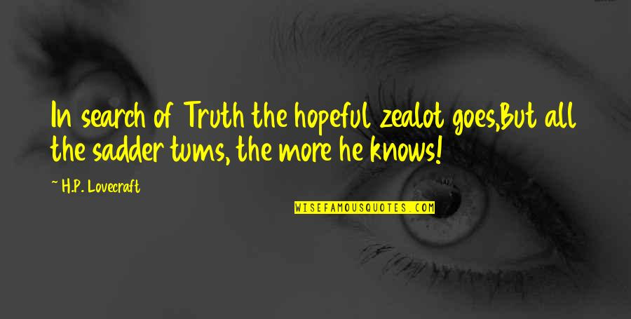 Fusakawa Quotes By H.P. Lovecraft: In search of Truth the hopeful zealot goes,But