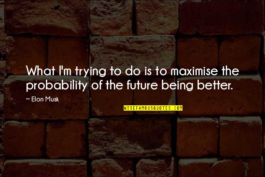 Future Is Better Quotes By Elon Musk: What I'm trying to do is to maximise