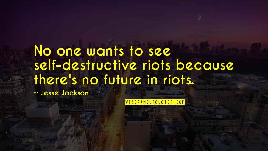 Future Self Quotes By Jesse Jackson: No one wants to see self-destructive riots because