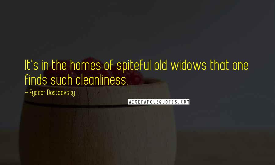 Fyodor Dostoevsky quotes: It's in the homes of spiteful old widows that one finds such cleanliness.