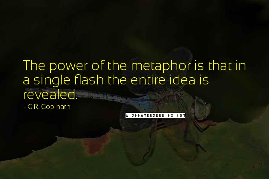 G.R. Gopinath quotes: The power of the metaphor is that in a single flash the entire idea is revealed.