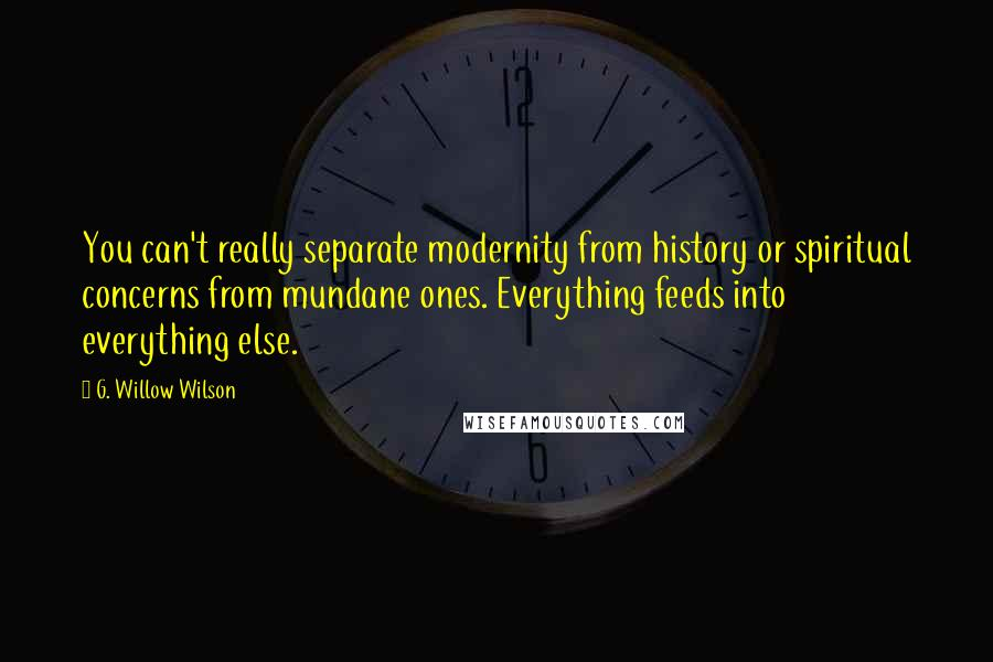 G. Willow Wilson quotes: You can't really separate modernity from history or spiritual concerns from mundane ones. Everything feeds into everything else.