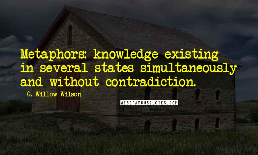 G. Willow Wilson quotes: Metaphors: knowledge existing in several states simultaneously and without contradiction.