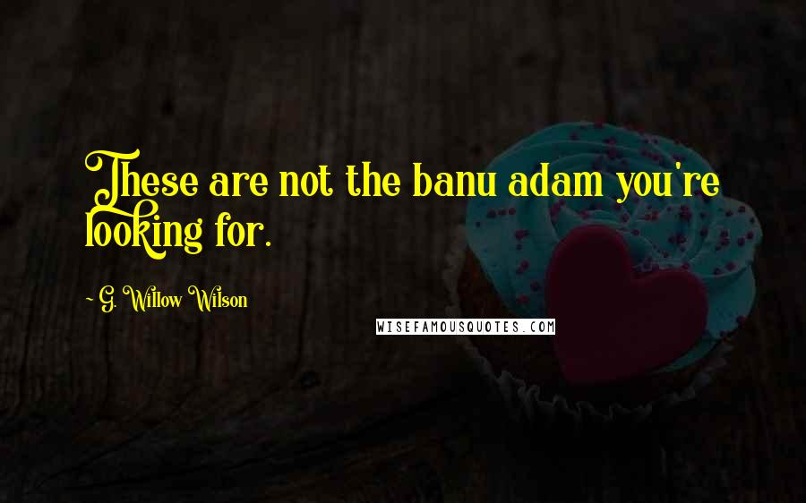 G. Willow Wilson quotes: These are not the banu adam you're looking for.