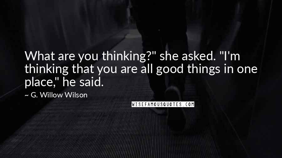 """G. Willow Wilson quotes: What are you thinking?"""" she asked. """"I'm thinking that you are all good things in one place,"""" he said."""