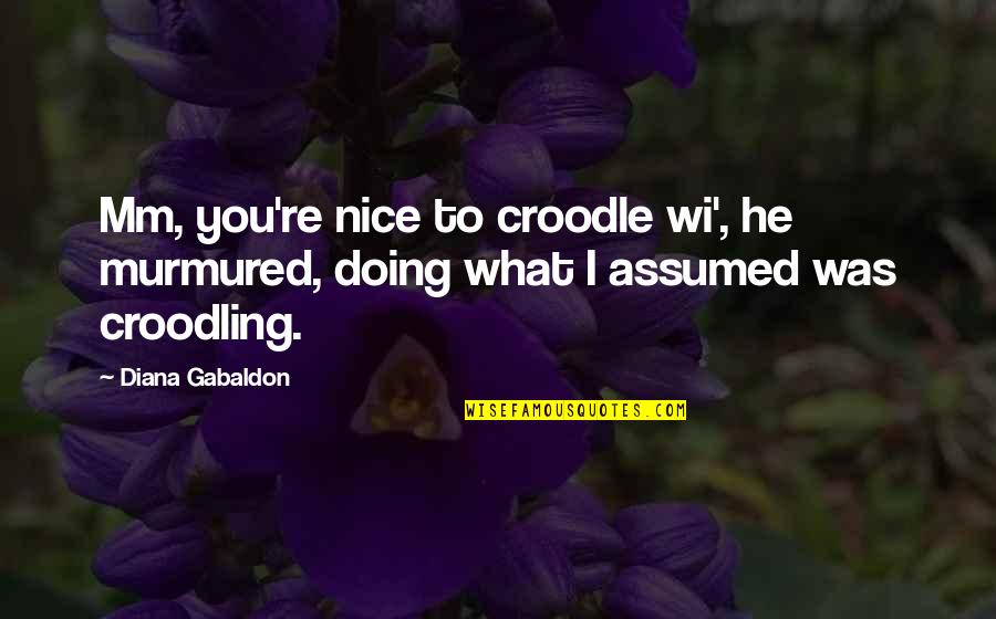 Gabaldon Quotes By Diana Gabaldon: Mm, you're nice to croodle wi', he murmured,