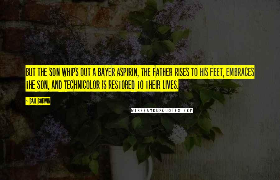 Gail Godwin quotes: But the son whips out a Bayer aspirin, the father rises to his feet, embraces the son, and Technicolor is restored to their lives.
