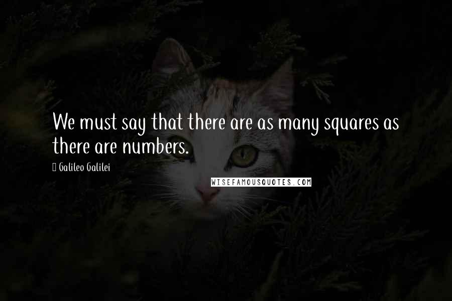 Galileo Galilei quotes: We must say that there are as many squares as there are numbers.